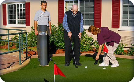 Nursing homes and retirement centers make great places to install putting greens for residents to enjoy physical therapy by golfing and putting