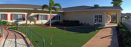 Putting greens for retirement homes and nursing facilities can be used for recreational therapy using putting on golf turf.